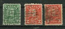 Kanada Briefmarken 1930 Freimarken Mi 141A, 142A, 144A