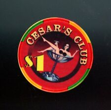 Old Vintage 1995 Calif Card Room Chip - $1.00 - Cesar'S Club - Watsonville Ca