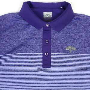 Callaway Golf Purple Striped Mens Short Sleeve Polo Shirt Size XL