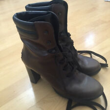 TOD'S Lace Up Boots Ankle Boots Brown Size 39 Made in Italy