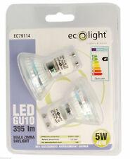 2 x ECOLIGHT GU10 LED 4 Watt/40W Bulbs Daylight White 395 Lumens Energy Saver Uk
