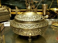 Brass PlateSugar Bowl Richly Ornamented Floral Motif Vintage Antique