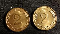 2 Münzen Coins Bundesrepublik Deutschland 2 Pfennig 1968 D G, Bronze, st