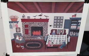 """SUSAN FISHER """"QUILT FEST"""" HAND SIGNED IN PENCIL COLOR LITHOGRAPH"""