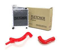 FLETCHER RADIATOR CLASSIC MINI COOPER S 1275cc 1300cc TOP BOTTOM HOSES RED Y3273