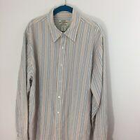 Ralph Lauren Polo Jeans Co XL Men's Cotton Tan Stripe Shirt