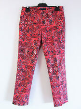 Sportscraft Sz 8 Red Printed Cropped 7/8 Stretch Cotton Straight Pants Trousers