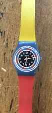 Vintage Swatch Watch Ladies,Red,yellow,Blue 1980s