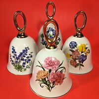 "FLOWER OF THE MONTH PORCELAIN BELLS SIGNED BY ARTIST 4 1/2"" SET OF 4"