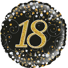 Black & Gold Sparkling Fizz 18th Birthday Party Foil Balloon 45 cm (18 inch)