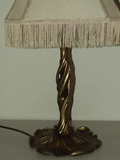Vintage Working Art Nouveau Deco Style Gold Gilded Cast Metal Table Lamp w/Shade