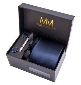 MASSI MORINO Herren Krawatte - Box Set mit Einstecktuch Krawattenset Geschenkbox
