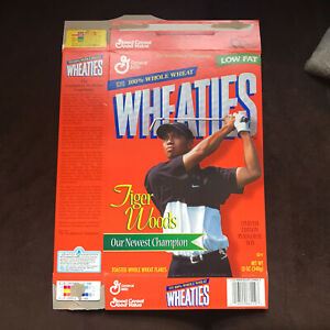 Tiger Woods PGA Golf 1999 Empty 18 oz Wheaties Cereal Box  Flat Opened