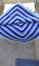 NEW Hand Knitted Crocheted Baby blanket 3 Tone Blue