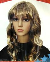 Women Wig Medium Wave Curly Golden Blonde Hair w Fringe  80s 90s Party Costume