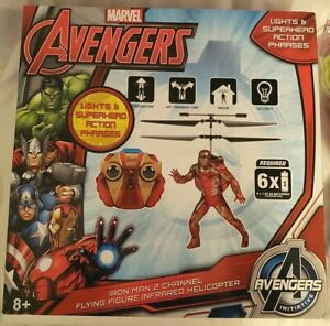 Iron Man 2 Channel Flying Figure Infrared Helicopter, Marvel-Avengers Ultron NEW