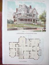 Bridgeport, CT house illustration & floorplan - Scientific American 1892