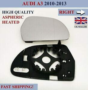 For Audi A3 2010-2013  Aspheric Heated Door Wing Mirror Glass Right Hand Side