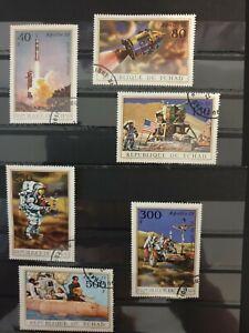 Chad 1972 Apollo 15 6 stamp set CTO