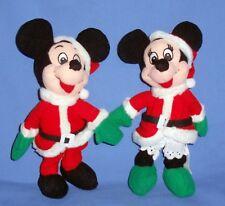 DISNEY MICKEY MOUSE-MINNIE MOUSE-Santa & Mrs. Claus plush beanie;Christmas LOT-2