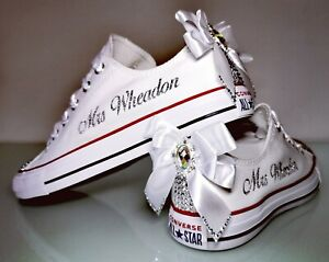 Personalised Crystal Bling Sparkle Converse Canvas Wedding Bridal Trainers