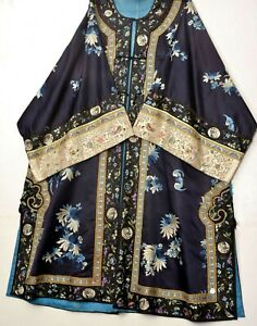 1900's Chinese Blue Silk Embroidery Lady's Robe Jacket Forbidden Stitch Flower