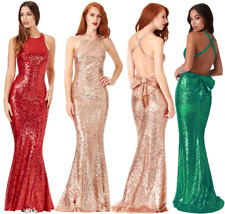 Goddiva Sequin Backless Bow Detail Fishtail Party Evening Prom Dress Bridesmaid