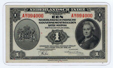 NETHERLANDS INDIES GULDEN of 1943 with AWESOME SERIAL 094000 PLASTIC ENCASE ABNC