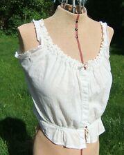Antique Edwardian Cotton Camisole Corset Cover w/ Lace Trim