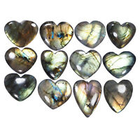 12 Pcs Top Quality Natural Labradorite Heart Flashy Untreated Gems 27mm-36mm