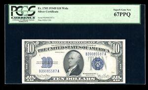 DBR 1934-D $10 Silver Superb Gem Fr. 1705W PCGS 67 PPQ Serial B39085587A