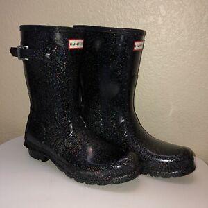 Hunter Women's Starcloud Short Rain Boots Black Multi Iridescent Glitter US 10