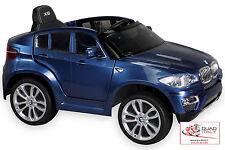 Macchina elettrica BLU per bambini nuova BMW X6 12V sedile in pelle con radio