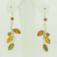 Sterling Silver 925 Multi-Color Natural Baltic Amber Leaf Dangle Drop Earrings