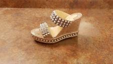 New! Christian Louboutin 'Ecu' Wedge Slide Sandals Silver 9 US 39 Eur MSRP $795