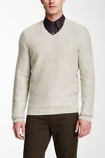 NEW! $325 VINCE V-Neck Sweater in Heather White Alpaca Wool [SZ Small ] #1567