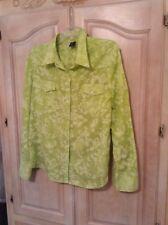 Gap Cotton Blend Long Slv. Button Chartreuse Floral Print Size XL