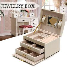 PU Leather Beige Jewelry Storage Box Mirror Organizer Case Ring Earring Necklace