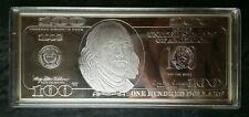 1998 4oz Silver Franklin $100 Note Bar in Plastic Holder