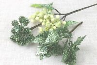 GISELA GRAHAM CHRISTMAS GREEN GLITTER SNOWY BERRY CONE LEAF PICK DECORATION