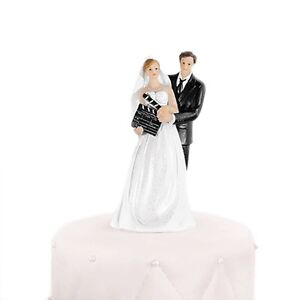 Film Star Bride and Groom with Clapperboard Wedding Cake Topper