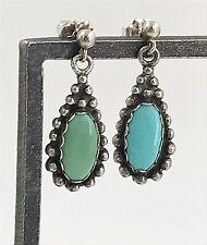 Vintage .925 Sterling Silver & Turquoise Petite Beaded Teardrop Post Earrings