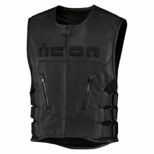 ICON Regulator D3O Black Leather Vest, L/XL