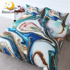 Marble Texture Bedding Set Golden Green Blue Duvet Cover Quicksand Bed Cover