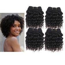 4 Bundles 8'' 7A Kinky Curly Human hair Extensions Weft De 50g/pc 1# Jet Black