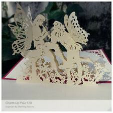 3D Greeting Card Flute Faeries Fall In Love Anniversary Valentine's Day Birthday