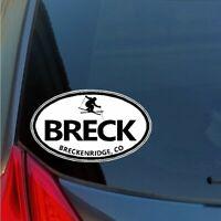 Breck skier oval sticker decal ski skiing Breckenridge Colorado car SUV snow