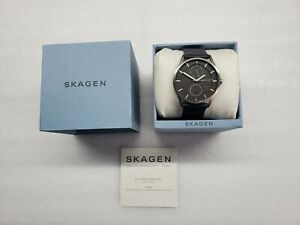 SKAGEN HOLST TITANIUM MULTI-FUNCTION NAVY LEATHER MEN'S WATCH SKW6448 PRE-OWNED