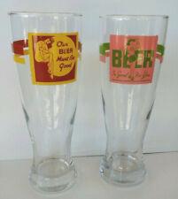 Pinup Girl Pilsner Beer 20 oz. Drinking Glasses 2 Retro Bar