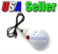 5V DC 130LM Rechargeable Cool White LED USB Power Light Bulb